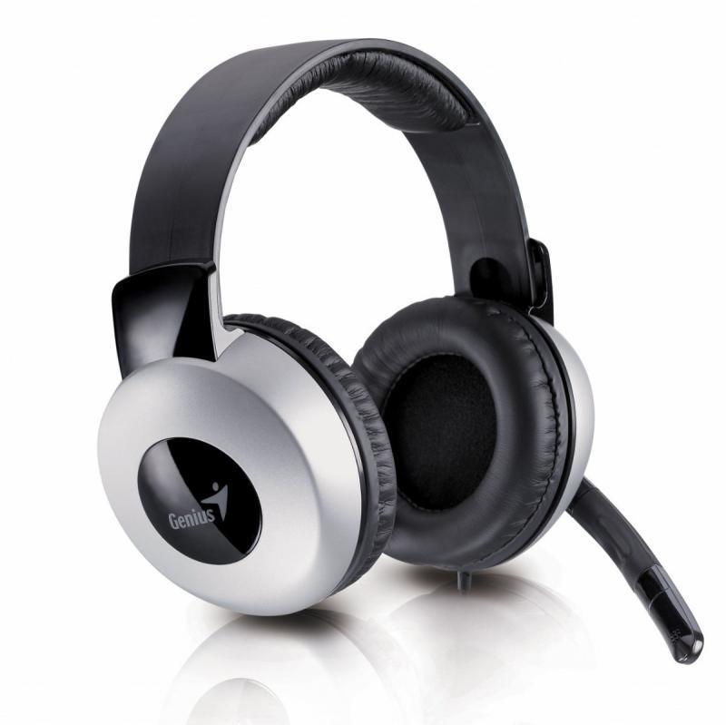 Casti cu microfon Genius HS-05A, negru/argintiu - imaginea 2
