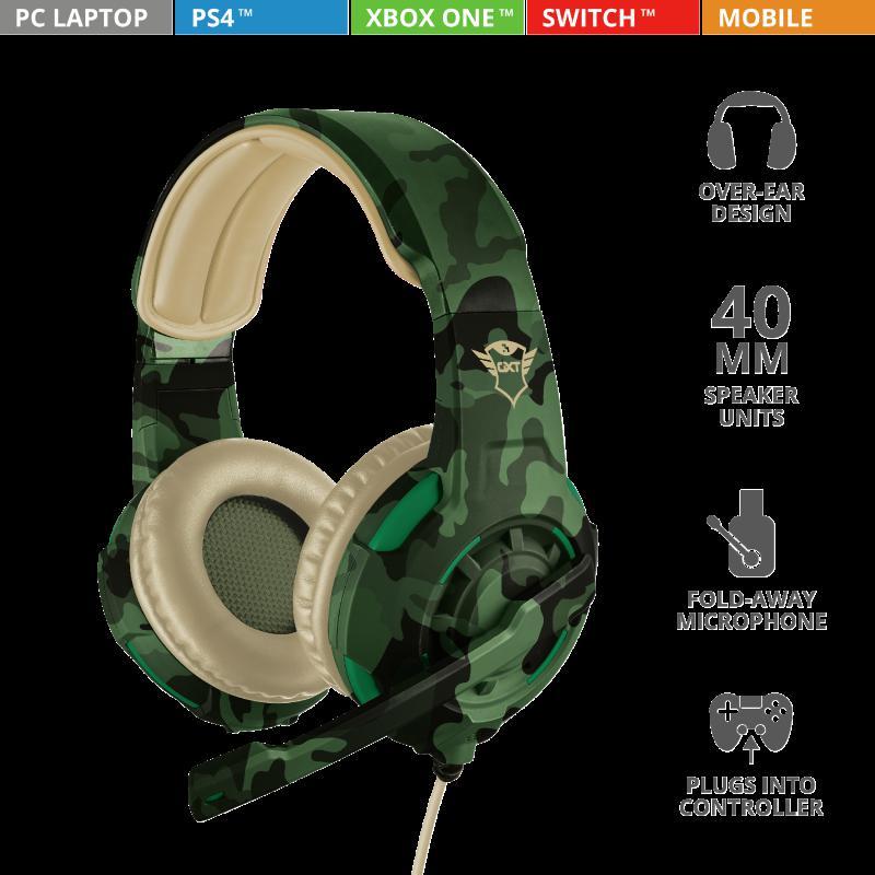 Casti cu microfon Trust GXT 310C Radius Gaming Headset, jungle camo - imaginea 9