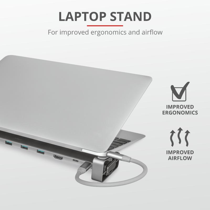 Adaptor Trust Dalyx Aluminium 10-in-1 USB-C Multi-port Dock - imaginea 9