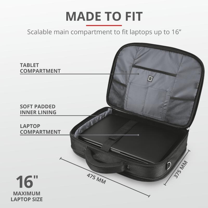 "Geanta Trust Sydney Carry Bag for 16"" laptops - black - imaginea 4"