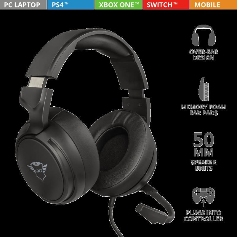 Casti cu microfon Trust GXT 433 Pylo Multiplatform Gaming, negru - imaginea 3