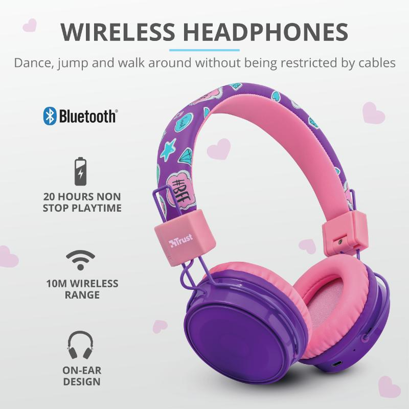 Casti cu microfon Trust Comi, Wireless Kids, purple - imaginea 6