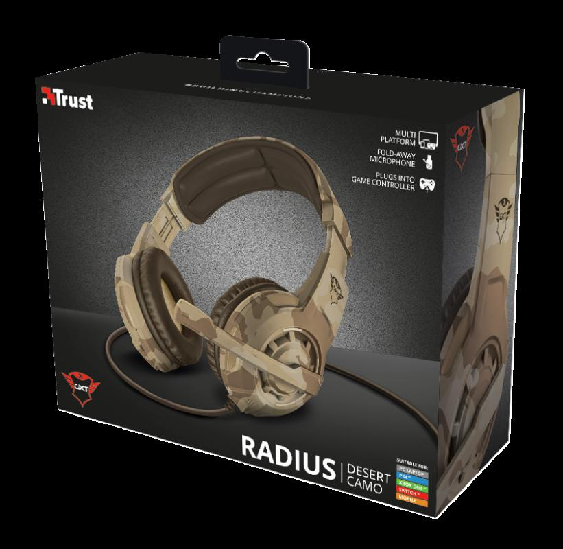 Casti cu microfon Trust GXT 310D Radius Gaming Headset, desert camo - imaginea 12