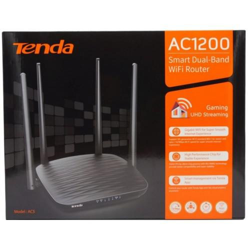 Router Wireless TENDA AC5, Dual- Band AC1200, 1*10/100Mbps WAN port, 3*10/100Mbps LAN ports, 4 antene externe 5dBi, 1*WiFi on/off, 1* Reset/WPS button, Standard&Protocol, IEEE802.3, IEEE802.3u, 2.4 GHz, 300 Mbps. - imaginea 1
