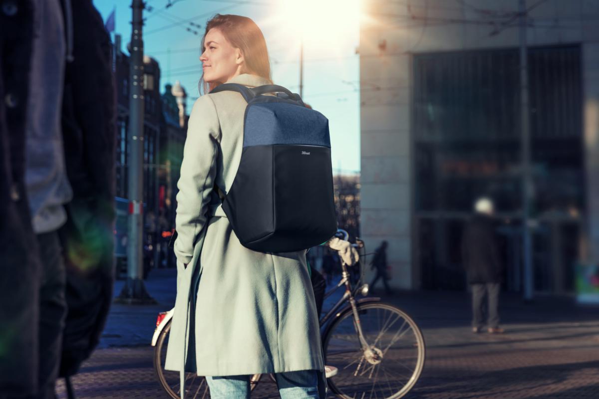 "Rucsac Trust Nox Anti-theft Backpack 16"" Blue - imaginea 11"