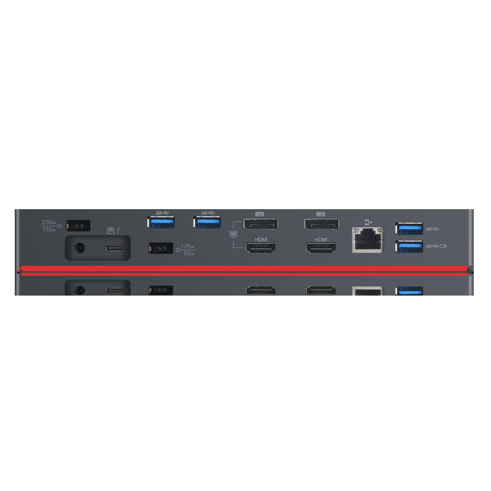Docking Station Lenovo ThinkPad Thunderbolt 3 Workstation Dock Gen 2, Porturi: 2 x DisplayPort, 2 x HDMI, 1 x Thunderbolt 3 DownStream Port (video/data), 5 x USB 3.1 gen 2, 1 x Gigabit Ethernet, 1 x Kensington Lock Slot, 1 x 3.5 mm Stereo/Microphone Combo Port, 3 x max external monitorsMaximum - imaginea 4