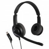 Casti cu microfon Axtel Voice USB28 duo NC, call center, sunet HD, negru