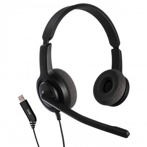 Casti cu microfon Axtel Voice USB28 duo NC, call center, sunet HD, negru - imaginea 1