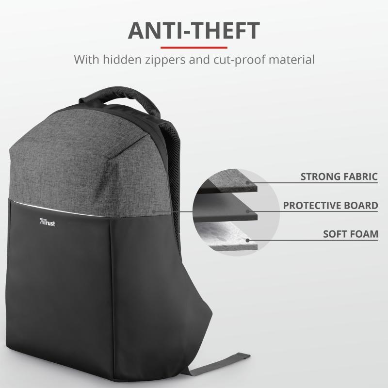 """Rucsac Trust Nox Anti-theft Backpack 16"""" Black - imaginea 4"""