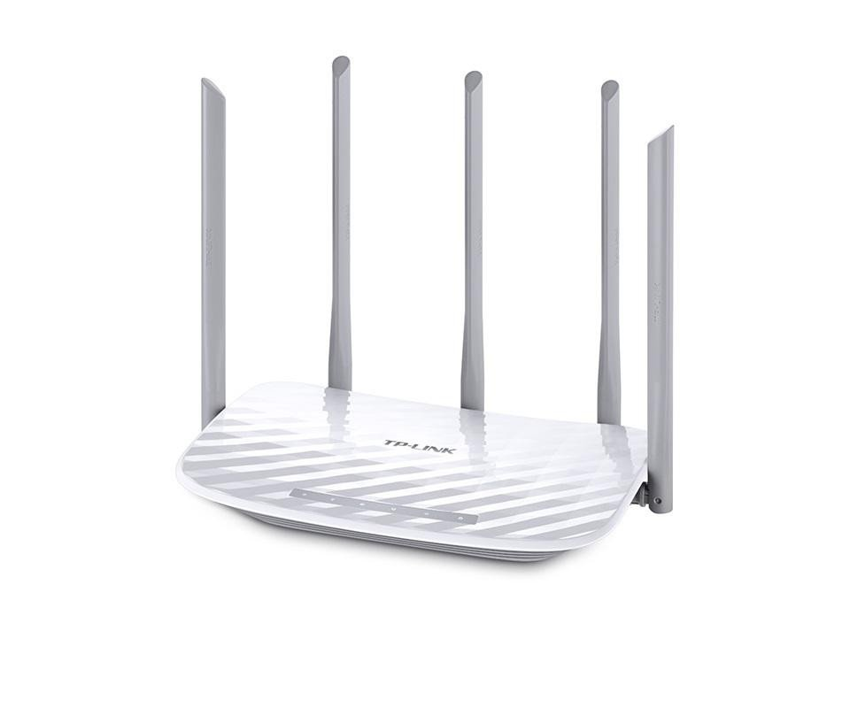 Router Wireless TP-Link ARCHER C60, 4*10/100Mbps LAN Ports ,1*10/100MbpsWAN Port, 2 antene*5GHz/3 antene 2.4GHz, dual-band AC1350(450/867Mbps),Buton Wireless ON/OFF, compatibil streaming video 4K - imaginea 1