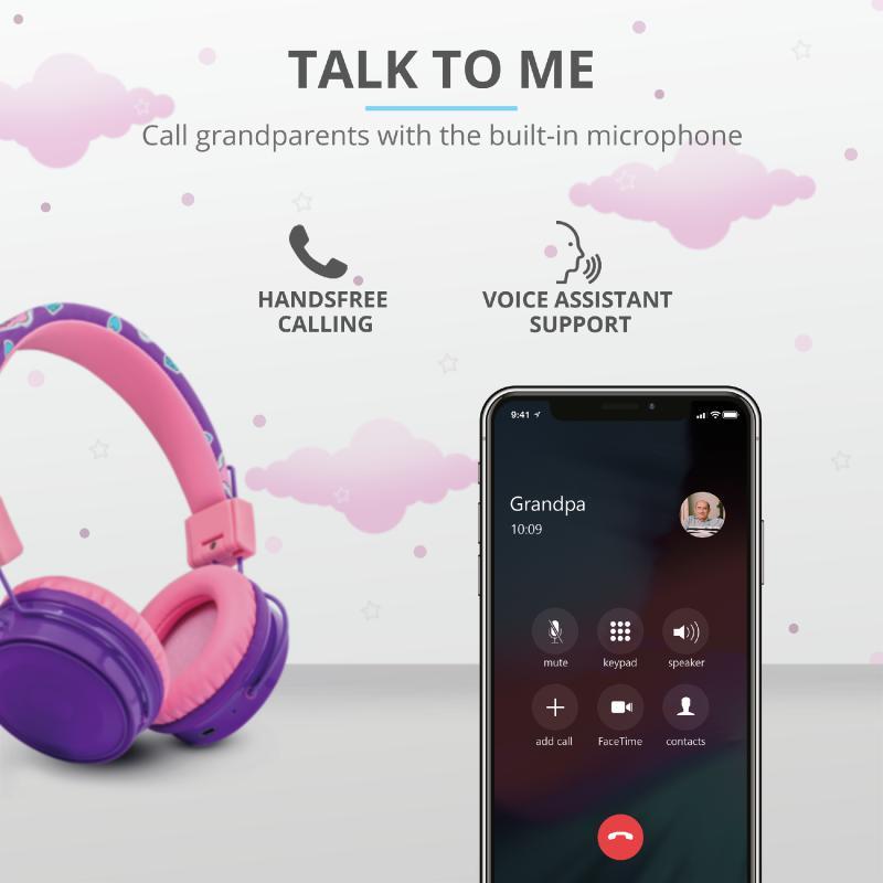 Casti cu microfon Trust Comi, Wireless Kids, purple - imaginea 8