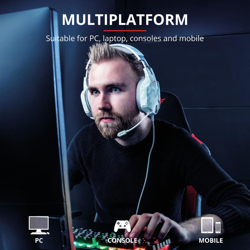 Casti cu microfon Trust GXT 322W Carus Gaming Headset, snow camo - imaginea 10