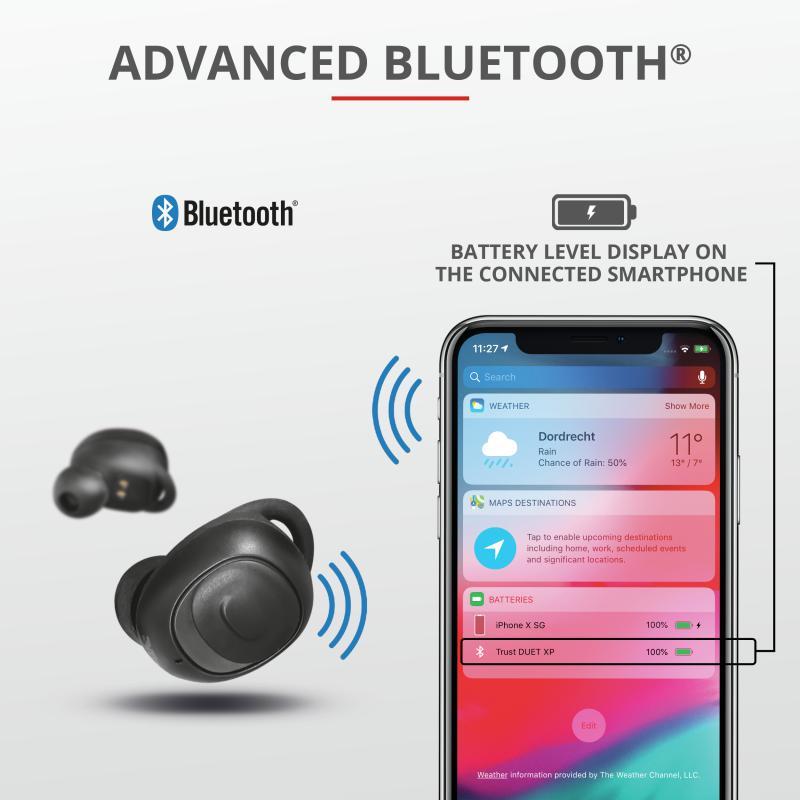 Casti Trust Duet XP Bluetooth Earphones, negru - imaginea 7