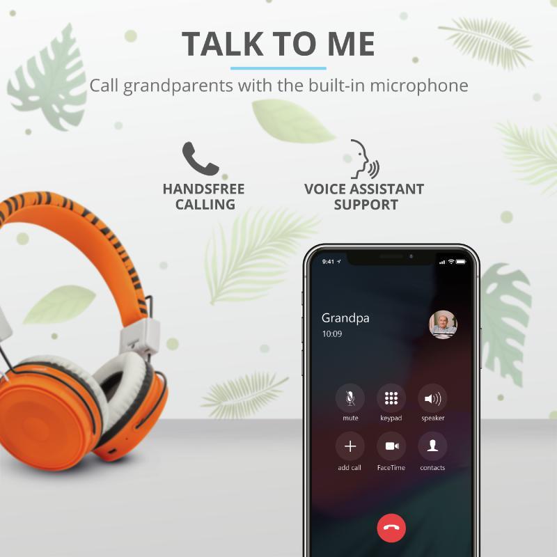 Casti cu microfon Trust Comi Bluetooth Wireless Kids Headphones Orange - imaginea 9