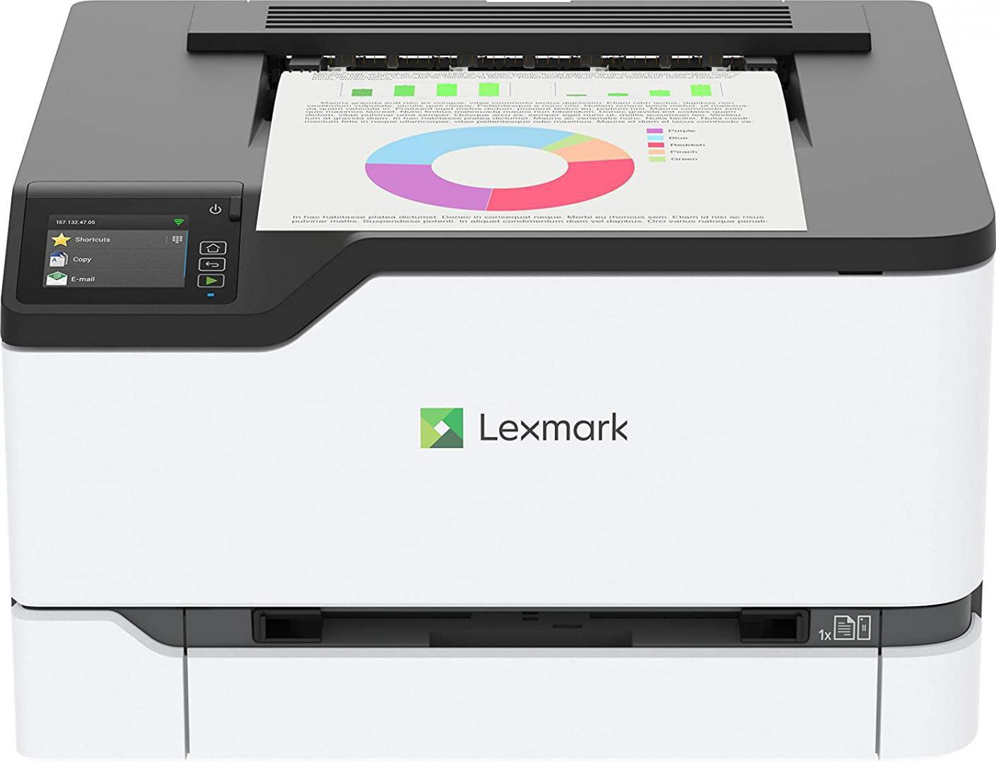Imprimanta laser color Lexmark C3426dw, Dimensiune: A4 ,Viteza mono/color:26 ppm/ 26 ppm , Rezolutie:600x600 dpi Procesor:1 GHz , Memorie standard/maxim: 512 MB/ 512 MB , Limbaje de printare: PCL 5, PCLm, PCL 6 Emulation, Emulare PostScript 3, Alimentare cu hartie standard/maxim: 250 coli/ 250 coli - imaginea 1