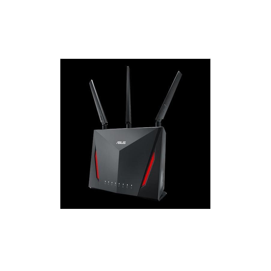 ASUS RT-AC86U Dual Band Wireless Router AC2900N, IEEE 802.11a, IEEE 802.11b, IEEE 802.11g, IEEE 802.11n, IEEE 802.11ac, IPv4, IPv6, AC2900 ultimate AC performance: 750+2167 Mbps, Memory: 256 MB Flash/ 512 MB RAM, 3* External antenna, 1* Internal 3dBi antenna for Wi-Fi, 1.8 GHz dual-core processor - imaginea 1