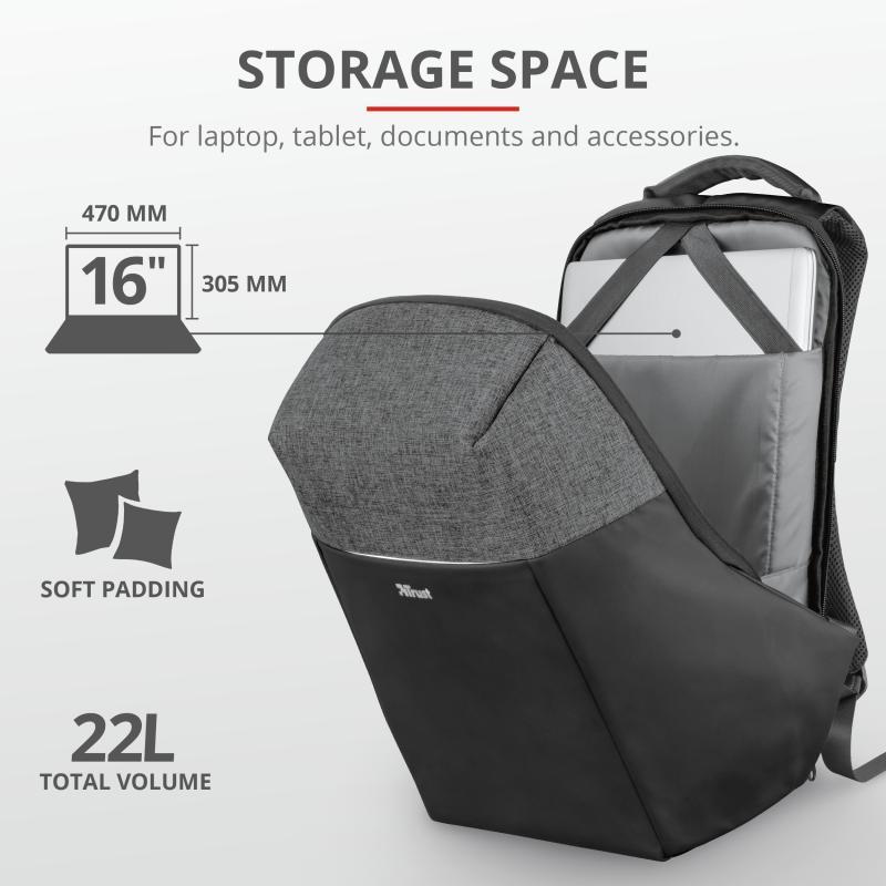 """Rucsac Trust Nox Anti-theft Backpack 16"""" Black - imaginea 6"""