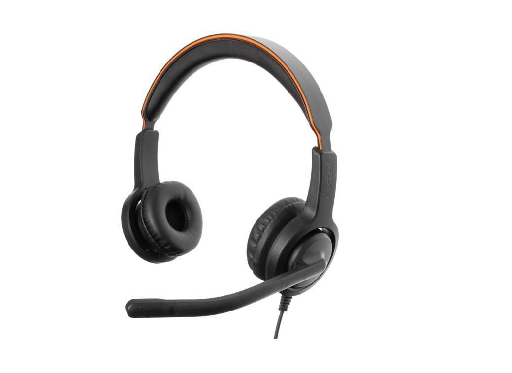 Casti cu microfon Axtel Voice 40 duo NC, call center, sunet HD, negru - imaginea 1