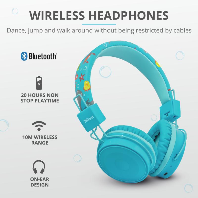 Casti cu microfon Trust Comi Kids, Bluetooth Wireless, blue - imaginea 7