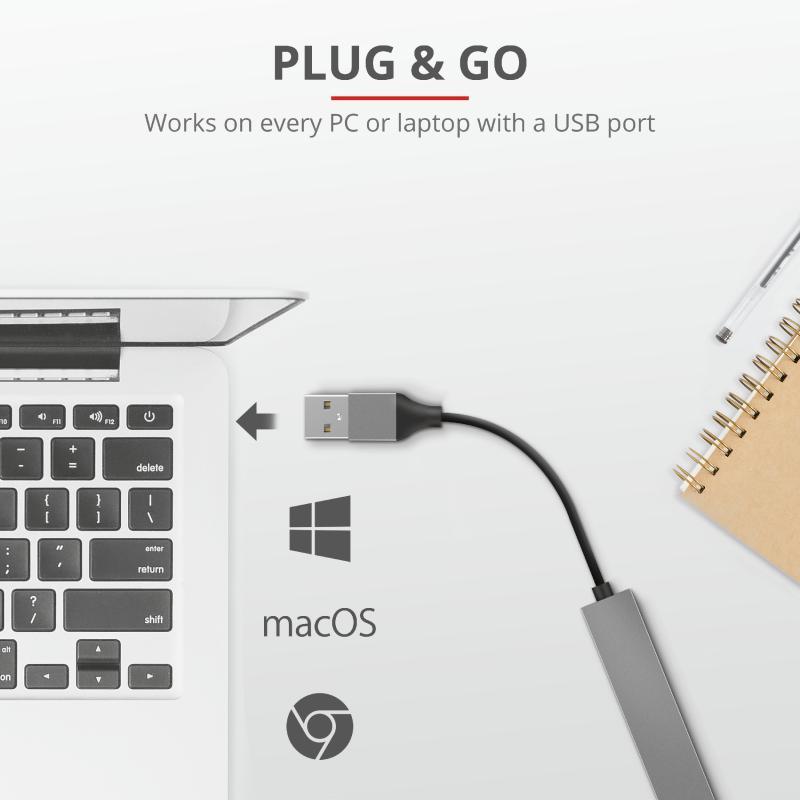 Adaptor Trust Halyx Aluminium 4-Port Mini USB Hub - imaginea 6