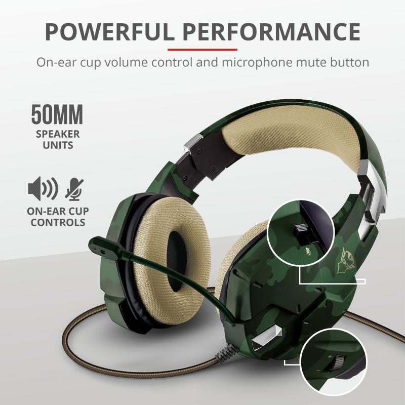 Casti cu microfon Trust GXT 322C Carus Gaming Headset, jungle camo - imaginea 8