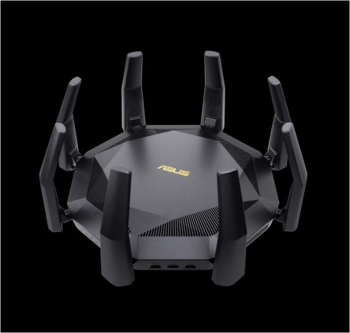 Router Wireless Asus RT-AX89X, 12-stream AX6000 Dual Band WiFi 6, MIMO and OFDMA, Network Standard: IEEE 802.11a, IEEE 802.11b, IEEE 802.11g, WiFi 4 (802.11n), WiFi 5 (802.11ac), WiFi 6 (802.11ax), IPv4, IPv6, External antenna x 8, Transmit/Receive: 2.4 GHz 4 x 4, 5 GHz 8 x 8, 2.2GHz quad-core - imaginea 1