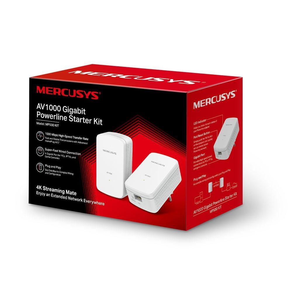 Mercusys Kit Starter Powerline Gigabit AV1000, MP500 KIT; Standarde Wireless: IEEE: HomePlug AV2, HomePlug AV, IEEE 1901, IEEE 802.3, IEEE 802.3u, IEEE 802.3ab, Acoperire: 300 de metri peste circuitul electric, Streaming Mate 4K, 1000 Mbps, - imaginea 1
