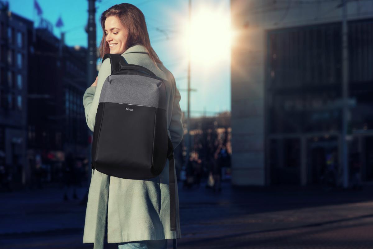 """Rucsac Trust Nox Anti-theft Backpack 16"""" Black - imaginea 13"""