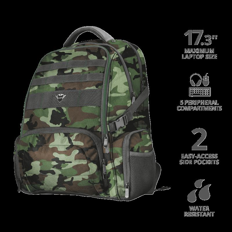 """Rucsac Trust GXT 1250G Hunter Gaming Backpack for 17.3"""" laptops - green camo - imaginea 2"""