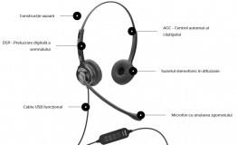 Casti cu microfon Axtel MS2 duo NC USB, negru - imaginea 2