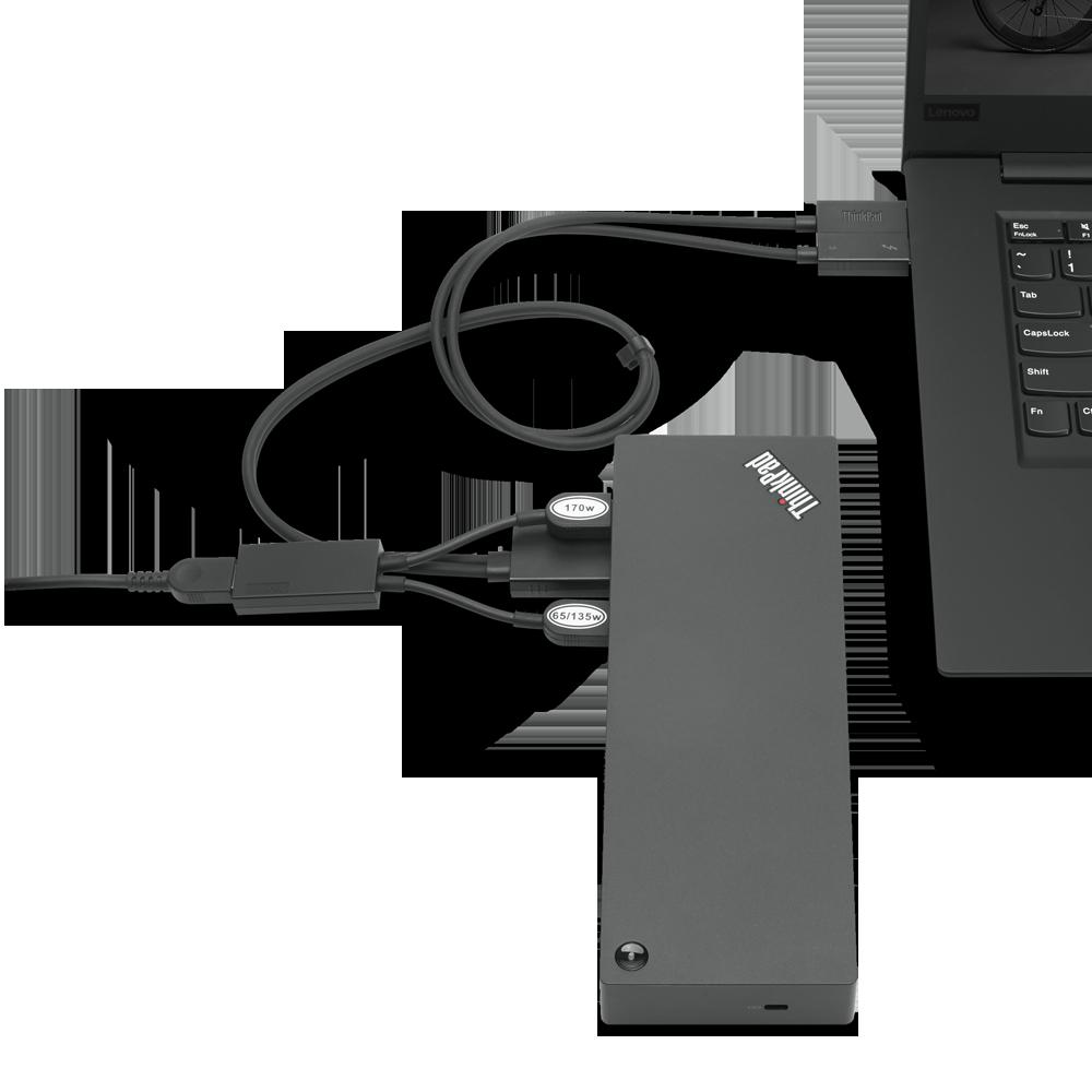 Docking Station Lenovo ThinkPad Thunderbolt 3 Workstation Dock Gen 2, Porturi: 2 x DisplayPort, 2 x HDMI, 1 x Thunderbolt 3 DownStream Port (video/data), 5 x USB 3.1 gen 2, 1 x Gigabit Ethernet, 1 x Kensington Lock Slot, 1 x 3.5 mm Stereo/Microphone Combo Port, 3 x max external monitorsMaximum - imaginea 1