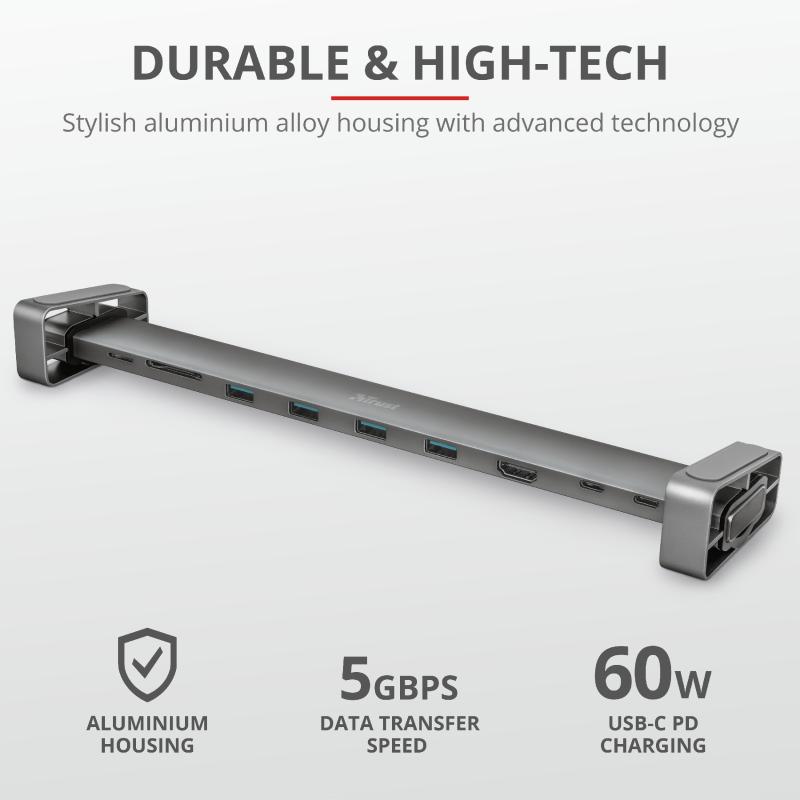 Adaptor Trust Dalyx Aluminium 10-in-1 USB-C Multi-port Dock - imaginea 7