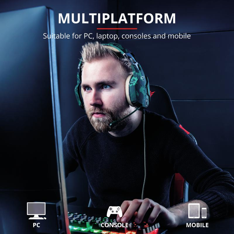 Casti cu microfon Trust GXT 322C Carus Gaming Headset, jungle camo - imaginea 11