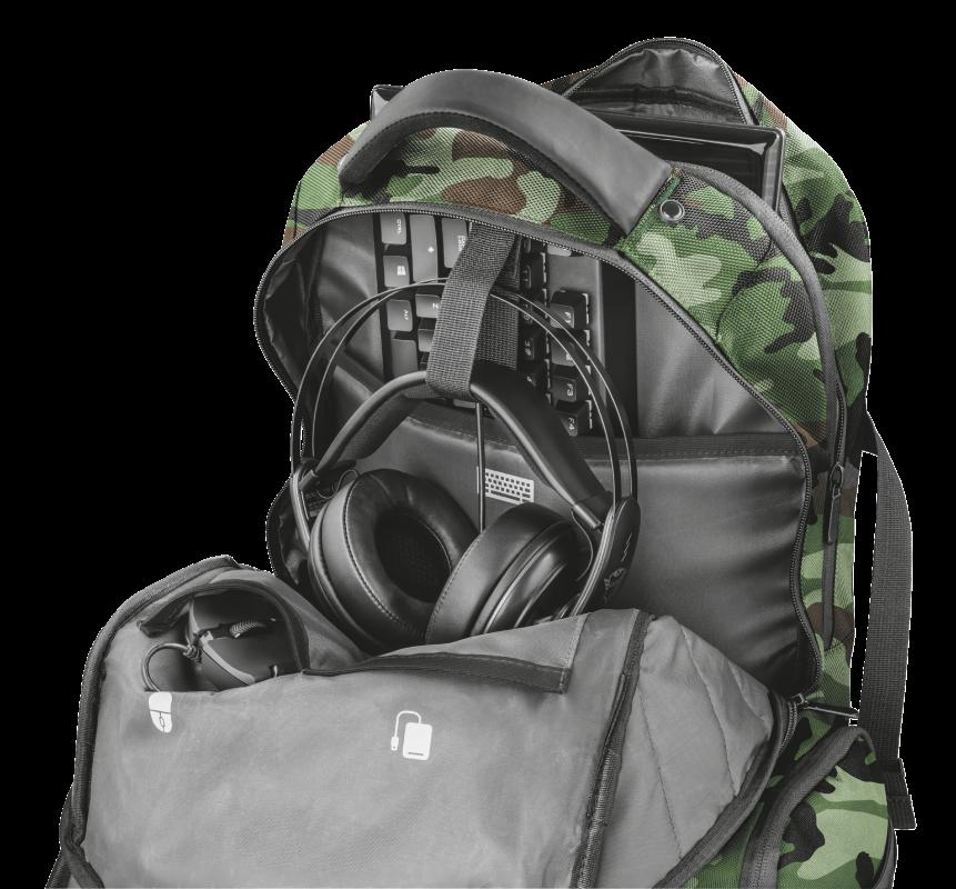 """Rucsac Trust GXT 1250G Hunter Gaming Backpack for 17.3"""" laptops - green camo - imaginea 5"""