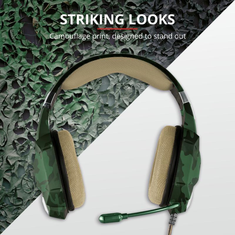 Casti cu microfon Trust GXT 322C Carus Gaming Headset, jungle camo - imaginea 10