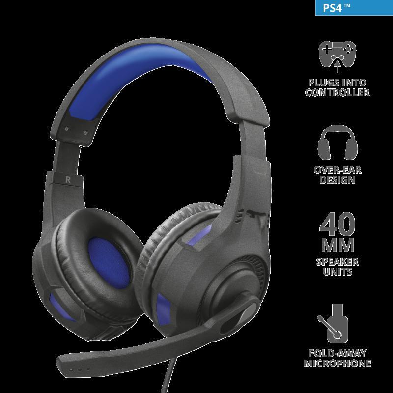 Casti cu microfon Trust GXT 307B Ravu Gaming PS4, negru - imaginea 3