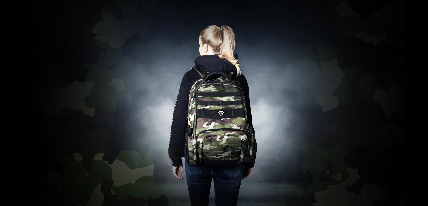 """Rucsac Trust GXT 1250G Hunter Gaming Backpack for 17.3"""" laptops - green camo - imaginea 11"""