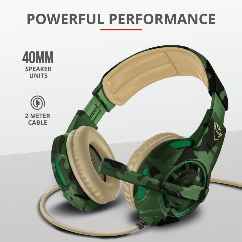 Casti cu microfon Trust GXT 310C Radius Gaming Headset, jungle camo - imaginea 4