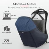 "Rucsac Trust Nox Anti-theft Backpack 16"" Blue - imaginea 8"