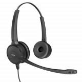 Casti cu microfon Axtel Voice 40 duo NC, call center, sunet HD, negru - imaginea 2